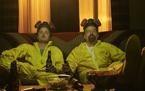 Bryan Cranston, beer, Walter White, Breaking Bad, couch, Jesse Pinkman