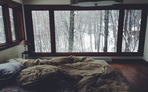 bed, winter, room, window, trees, snow