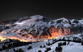 stars, night, winter, mountain, landscape