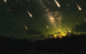 space, shooting stars, stars, meteors, sky, triple screen
