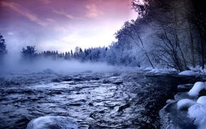 landscape, nature, mist, river