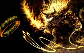 rings, demon, fire, black background, The Lord of the Rings, fantasy art