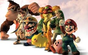 Super Mario, Link, Samus Aran, Wario, Donkey Kong, Kirby