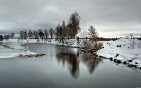 snow, river, frozen lake, nature