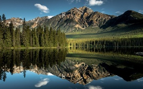 nature, mountain, reflection, landscape, clouds