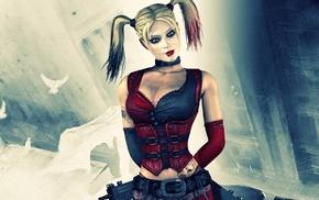 Batman, cleavage, blue eyes, DC Comics, digital art, blonde