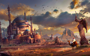 art, ruin, fantasy, city, sand