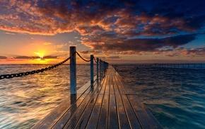 закат, природа, пейзаж, пирс