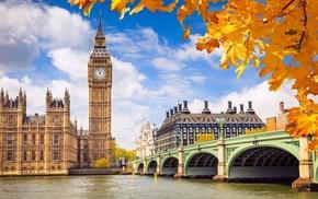 autumn, bridge, London, leaves, river