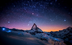 landscape, stars, starry night, rock, Zermatt, space