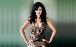 simple background, Anne Hathaway, dress, sitting, brunette, brown eyes
