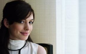 brown eyes, girl, face, brunette, Anne Hathaway, smiling