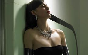 серьги, девушка, брюнетка, Кира Найтли, ожерелье