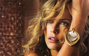 girl, jewelry, face, blonde, Charlize Theron
