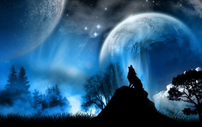 moon, night, artwork, animals, wolf, fantasy art