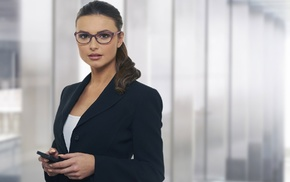 suits, girl with glasses, white tops, brunette, girl