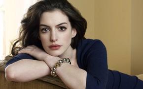 face, brown eyes, blue dress, relaxing, Anne Hathaway, brunette