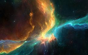 Космос, туманность, звезды, арт, галактика, сияние