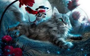 kitten, animals, toy, flowers
