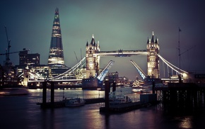 London Bridge, Tower Bridge, night, cityscape, England, city