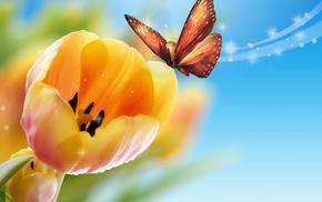 stunner, butterfly, tulips