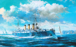крейсер, волны, чайки, море, 1ранга, Арт