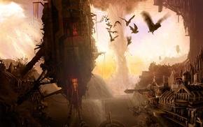 artwork, tornado, digital art, fantasy art