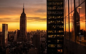 sunset, city, Empire State Building, New York City, cityscape, USA
