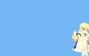 Monogatari Series, Oshino Shinobu, simple background, blue