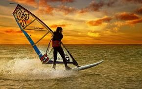 board, sports, sunset