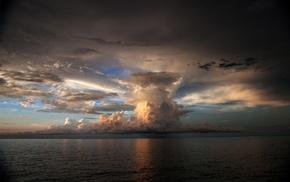 море, шторм, облака