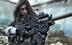 beautiful girl, war, girls, eyes, gun
