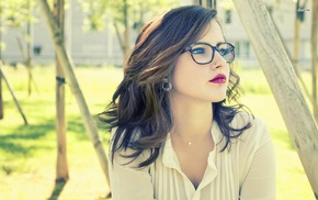 girl, brunette, girl with glasses, face, piercing, glasses