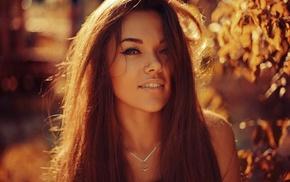 лицо, длинные волосы, брюнетка, улыбка, девушка