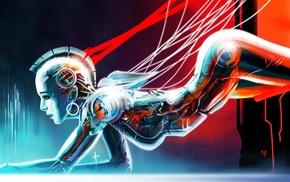 Gynoid, wires, steampunk, artwork, robot