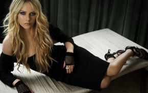 Avril Lavigne, dress, gloves, painted nails, blue eyes, blonde