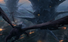 art, dragon, fantasy, fly, city
