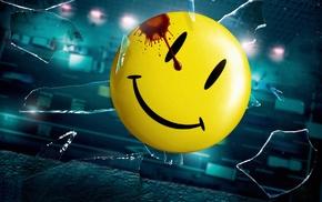 broken glass, smiley, road, falling, Watchmen, blood stains