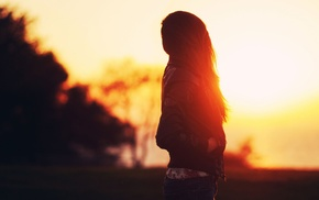 sunset, sunlight, Golden Hour, silhouette, long hair, girl outdoors