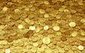 Монеты, текстуры, золото, жёлтый, деньги