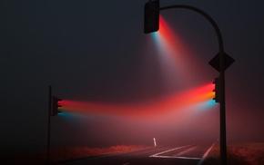 lights, photo manipulation, traffic, mist, photography