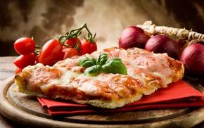 Пицца, овощи, лук, блюдо, вкусно, бекон