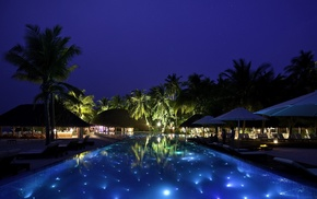 swimming pool, night, tropics