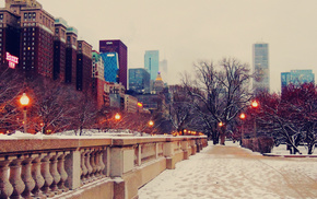 evening, snow, street, Chicago, skyscrapers
