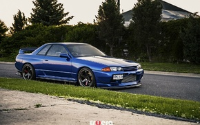 Nissan Skyline R32, blue cars, Nissan, car, Nissan Skyline