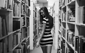 shelves, library, model, books, long hair, brunette