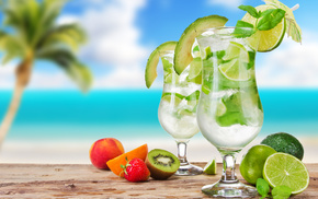 Мохито, cocktails, бокалы, коктейли, вкусно, фрукты