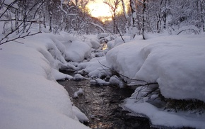 snow, sunset, creek, winter