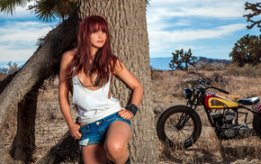 girls, motorcycle, cutie, red hair, fashion model