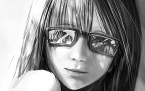 anime, smiling, glasses, black and white, girl